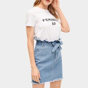 Dresses & Skirts - High Waist Paper Bag Raw Hem Denim Skirt